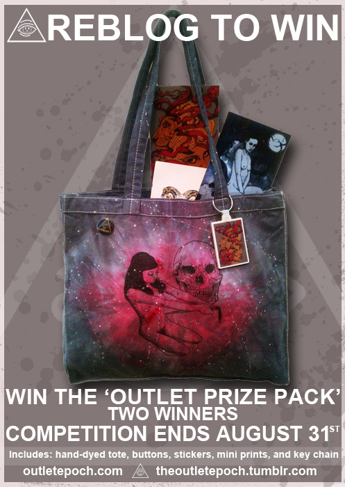 THE OUTLET EPOCH ' OUTLET PRIZE PACK' GIVEAWAY - REBLOG TO WIN !! Stay green this fall with an awesome tote prize pack. 100% cotton, great for shopping and book carrying. Prize pack includes; One hand-dyed tote bag (galactic style), Two Mini Prints that are signed and numbered, two logo pins, two stickers, and one Key Chain. Rules : - Must Reblog entire post ( 'likes' wont be counted ) - Must Follow my blog. ( theoutletepoch.tumblr.com ) - Reblog upto 3 times a day. ( no spamming ) Giveaway closes Friday Aug 31th 2012 at 11:59pm (Central Time) Like the other giveaways , the winner will be picked from a hat and announced right after the comp closes, and then also notified through tumblr message for postage details.