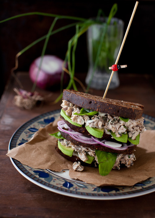 beautifulpicturesofhealthyfood:  Basil Chicken Salad with Mushrooms, Walnuts and Avocado on a Whole Grain Bread…RECIPE  I just came in my mouth