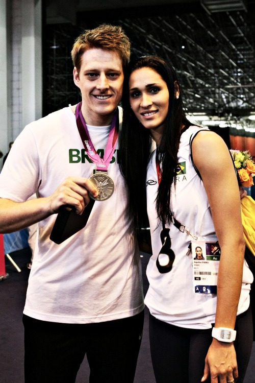 volleyballovers:  Murilo Endres silver medal and Jaqueline Carvalho gold medal of Brazil (12.08.2012)- Olympics Games 2012