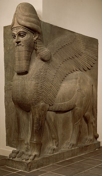 "Lamassu from Assyria, ca. 883-859 BC. From the MET  ""Guarding the gate to Sargon's palace were colossal limestone monsters, which the Assyrians probably called lamassu. These winged, man-headed bulls served to ward off the king's enemies. The task of moving and installing these immense stone sculptures was so daunting that several reliefs in the palace of Sargon's successor celebrate the feat, showing scores of men dragging lamassu figures with the aid of ropes and sledges.""  - Fred S. Kleiner, Gardner's Art through the Ages: A Global History"