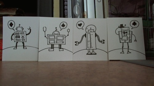 My boss wanted robots for her birthday. This would be Helperbot, Sturdybot, Magnabot, and Dapperbot.