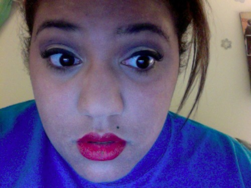 "what if i got a monroe? oh, and this is my first-day-of-school makeup, i'm gonna be a pinup girl makeup used (with the exception of foundation, concealer, and powder, which are custom): naked2 palette from 'urban decay' - ""bootycall"" for the hilite and lid, ""tease"" for the crease eyeshadow from 'urban decay' - ""sellout"" for the under-eye lash line liquid eyeliner from 'nyc' - #888a ""pearlized black"" for upper-lid liner and wing 'flirt! far out' lengthening mascara - #01 ""extreme black"" studio matte lip color from 'e.l.f.' - ""rich red"""