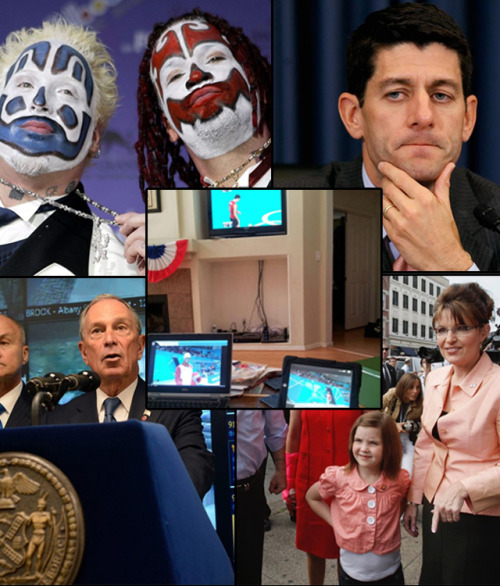 The Pitch, Week 7: A bunch of Juggalos and a ton of Paul Ryan Seventh-inning Pitch: We're here to serve you, folks. We SFB writers really enjoy writing the longer stories that are most important to you. The Pitch is a chance for all of us to delve a little deeper. Head over to this week's The Pitch album on Facebook and vote for what story you want to see written slightly more longform-y! Your choices: The media's coverage of Sarah Palin in comparison to Paul Ryan; a crazy new sci-fi technology developed by Microsoft and the NYPD; the Insane Clown Posse's insane lawsuit against the FBI; a closer look at Paul Ryan and what makes him so Paul Ryan-y; or what to do with yourself now that the Olympics are over. Oh yeah: Be sure to read last week's winner, a close-up on Syria. source Follow ShortFormBlog: Tumblr, Twitter, Facebook