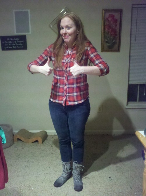 So, per a friend's request, here is screen accurate red plaid and (not accurate) grey boots for TIA and TRF/TAP. And one goofy-ass pose.