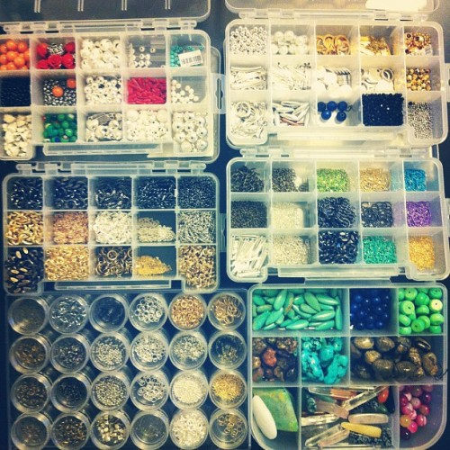 Organizing my jewelry supplies…  (Taken with Instagram)