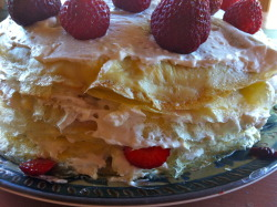 This was a very delicious Strawberry Crepe Cake. I read a recipe in the local paper and was inspired to try it for myself. Quiet pleased with the outcome, and it looks beautiful. I served (and ate) it for breakfast.