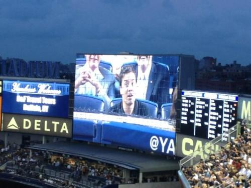 cokesnlfan:  Jimmy Fallon on the Yankee Stadium Jumbotron! (via @inkycraft)