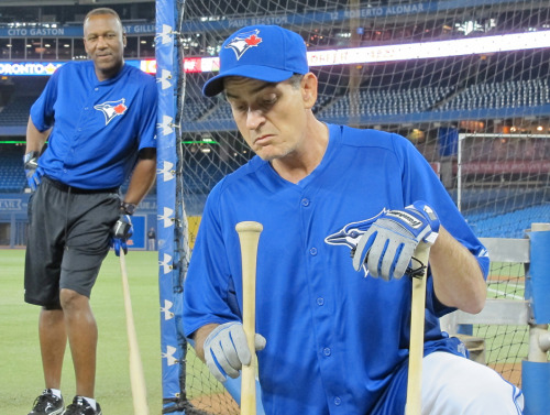 Joe Carter playing the role as Cerrano and Charlie Sheen reprising his role as Rick Vaughn for Major League 4? Image courtesy of National Post