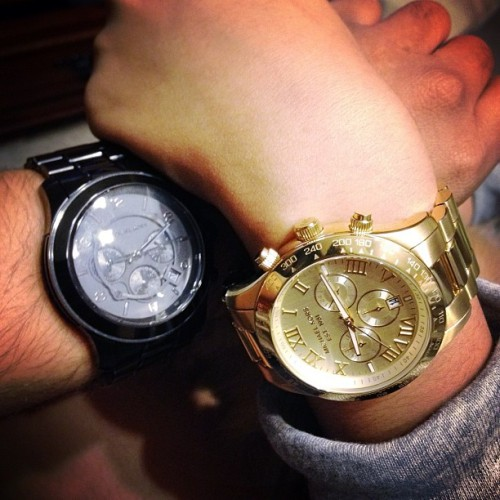 Brother & sister are matching Michael Kors watches.  (Taken with Instagram)