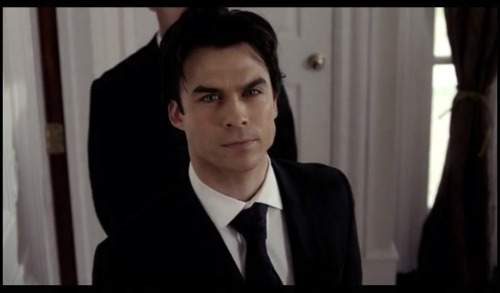 "Ian Somerhalder as Damon Salvatore on The Vampire Diaries (still) ""Damon scorts Elena on the Founders Pageant"""