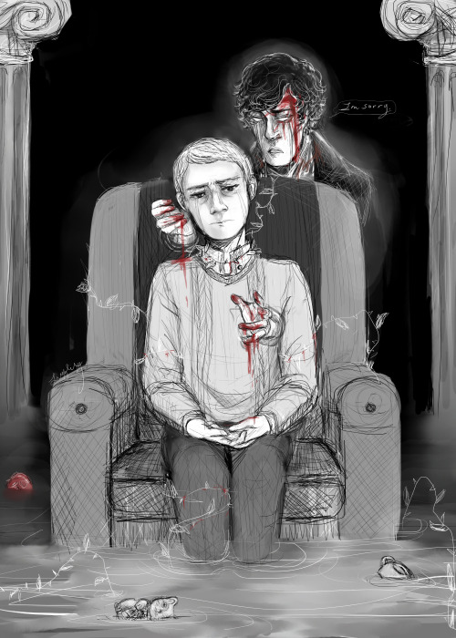 "ivorylungs:  So let's pretend Sherlock is dead. Okay? No? Too bad. ********* In all of Sherlock's life he never yearned for another's touch.Never for holding a conversation. Never to sit in a comfortable silence between another and himself. Never yearning for love or to confess it. Never wishing for something so simple as laughter. Never to say he was sorry. Sherlock tries for all of that now. He can't reach anyone. He can't reach the only one. The only one who ever mattered to him.""You see but you do not observe.""His own words crush his soul. He never knew how much he needed John Watson. Not until he could no longer reach him.————————————————-John Watson is haunted constantly. He hears Sherlock's voice and it follows him wherever he goes. They are the slightest whispers that he cannot comprehend. Everyone tells him that he cannot live like this and even he wants to move on with his life. Although, they do not hear what he hears.Sherlock's voice, when he can understand it, only tells him things that he does not understand.""It was for you, John.""""Why can you not see why I had to?""""I miss you.""————————————————Sherlock talks to him everyday.He has been cursed with hope. Hope that John will hear him one day. Hear Sherlock plea for forgiveness for leaving him.When you're a ghost though, you do not control things like the living do.He tries to hold John while he cries himself to sleep. Even so, Sherlock cannot grasp John, no matter how hard he tries to hold him and whisper comforting words.————————————————Sherlock knows John can hear him on occasion but he doesn't understand him. It frustrates Sherlock so he yells: screaming in John's ear, trying to force his point across. ————————————————His voice gets louder in John's head sometimes. Every muscle in his body tenses and John feels tears behind his eyes. He stopped crying awhile ago. Everyday he works on throwing the emotions and the voice in a small box inside him, that weighs more then it ever should. ————————————————Sherlock will never be able to tell John the things he should have while he was still there.John will endlessly hear Sherlock's voice in his head, and will always try to ignore it.Neither can move on. ********* Thank you to littletallbird for editing! I would have died without you! First time posting a fic. (though very tiny) Advice is welcomed!"