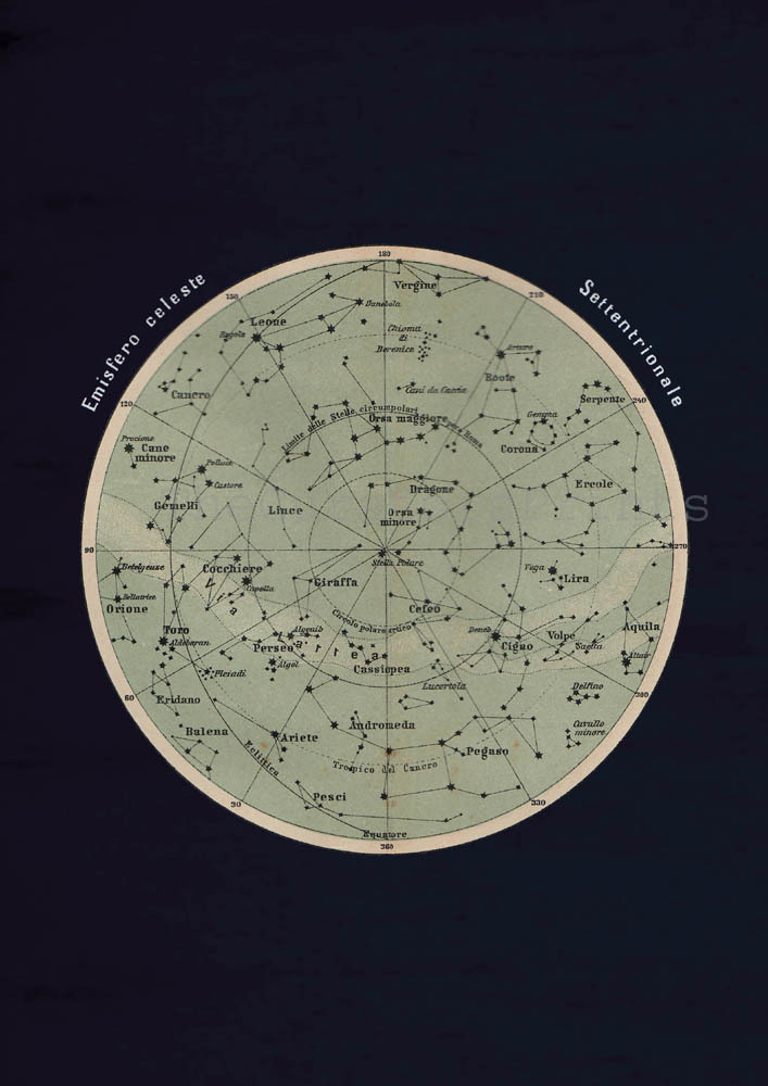 thecuratorsprints:  Antique Celestial Sphere Print Astronomy Chart Northern Hemisphere Stars Constellations This print was made using an antique celestial sphere image from an Italian atlas. I changed its colors to green with a deep blue background. The name of the constellations are in Italian, some of them have the same denomination in English.