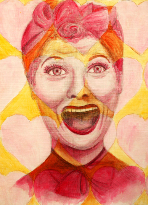 "appledoodles:  ""Having a Ball!"" (Lucille Ball;11 of 12) watercolor and graphite for sale!Ask about prints/commissions :)"