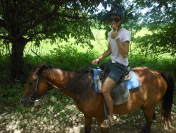 Horseback riding in Jamaica!  I like this one cause it looks like I have muscle lol but my horse was such a diva.  He walked around all the mud and puddles and the only thing he wanted to do was walk slow as hell and eat grass.