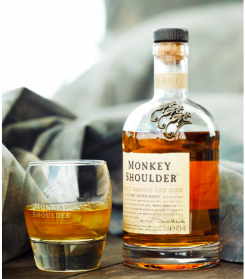 nice packaging :: Monkey Shoulder whisky bottle, photo by Murray Mitchell