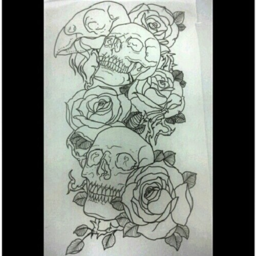 Skulls &Roses #tattoo #drawing #skulls #roses #tattoos #halfsleeve #Ser_v1 #goldentouchtattoo (Taken with Instagram)