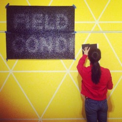 wiblog:  Graphic designer Sophine in the field (pun!) testing her Field Conditions wall text designs/spontaneously color-blocking.  Our new architecture + design exhibition, Field Conditions, opens in about 2 weeks! Love the exhibition description's intro: Can there be architecture without buildings? What if a wall or a floor went on forever? What happens when people move through a room?