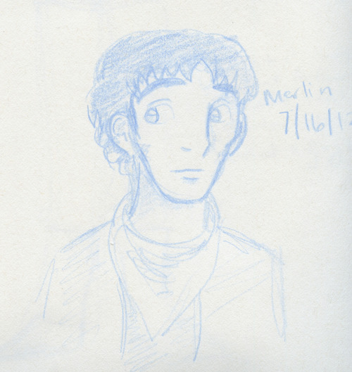 From a page of doodles. I had been watching season 3 of Merlin and felt like sketching Merlin out. Colin Morgan has these very pronounced cheekbones and I'd like to make that an attribute of Delta in the Nova Earth Story.