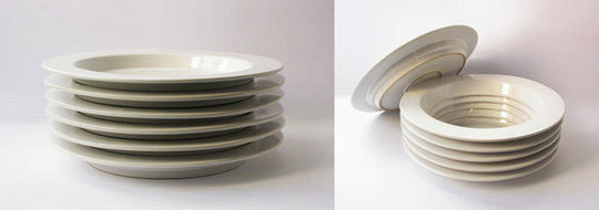 Secret compartment in stack of dishes