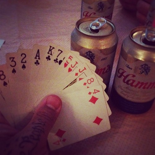 spades & Hamm's cans with @phildo & @tkrolll  (Taken with Instagram at Happy Village)