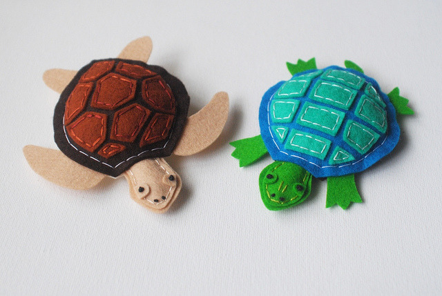 Wool Felt Turtles! by whatnomints on Flickr.