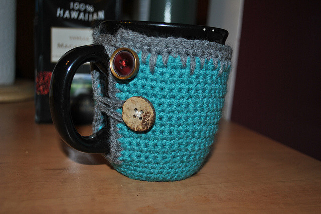 Coffee cup cozy by creativemind8521 on Flickr.
