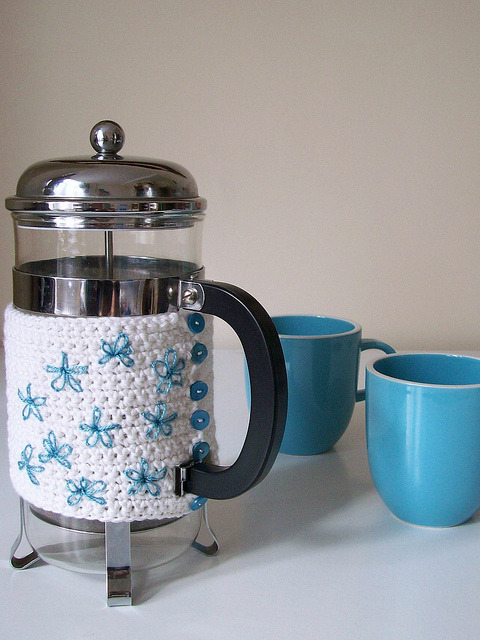 crocheted cafetiere cosy by helen limbrick on Flickr.