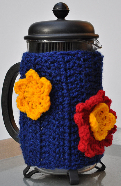 Halliwell handmade coffee cozy by Halliwell Handmade on Flickr.