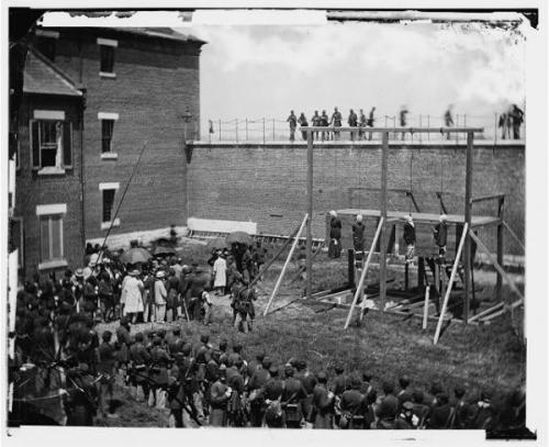 The public execution of the Lincoln Conspirators, one of the first news-events to be photographed as it happened.  Most photography to this had been portraiture and static scenes; the aftermath of Civil War Battlefields, for example.