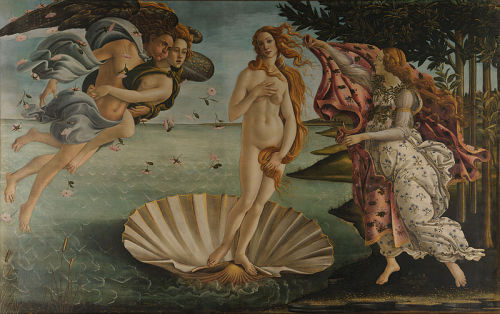 Botticelli's Birth of Venus - A friend of mine tries his hand at being an art critic.  … I'm not sure who the other people are because Botticelli didn't name them in the title but they are probably her Mum and Dad on our left and the midwife on our right. The midwife is about to put a towel on Venis because she is probably really cold because she was born in the sea. The Dad is showing the Mum how to take big breaths because when giving birth you need to take lots of long deep breaths.       Venis is standing in an oyster; this is a twofold metaphor, or double entendre if you will. One explanation of this symbol is that she is a pearl (which come out of oysters) and that means she is really nice. Another possible understanding of this metaphor is that because they had to give birth at sea there were no neonatal units so they had to use an oyster to stabilise her environment.      …