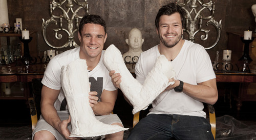 scrumoftheearth:  allfortheallblacks:  Dan Carter & Adam Ashley-Cooper with their cast molds  qt  yummy