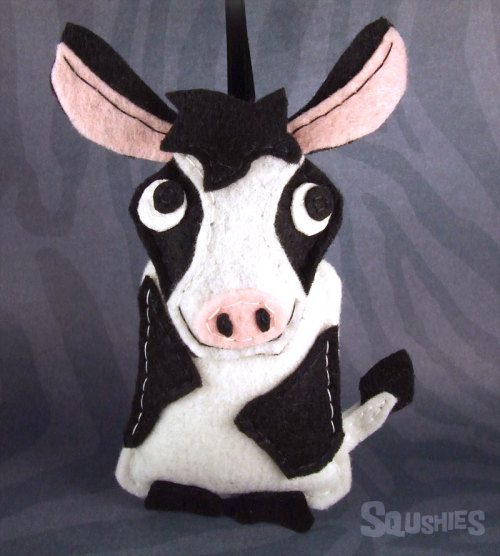 squshies:  Fiona the Cow Fiona is an expert in etiquette. She firmly believes that just because you were born in a barn doesn't mean you have to act like it. Fiona holds weekly lessons for those that are interested in improving their manners. So far she has covered Salutations of Courtesy, Invitations, Acceptances and Regrets, and Teas and Other Afternoon Parties. Fiona is a big Emily Post fan. Some of the animals on the farm applaud Fiona's efforts as they feel kids these days lack manners. Some think it might be a tad unnecessary as no one on the farm has ever actually attended a real tea party. Fiona is determined to bring culture and civility to the barnyard, one calf at a time.  (via squshies on Storenvy)  My cousin loves cows.. Totally thinking about ordering this for her as a Christmas gift!