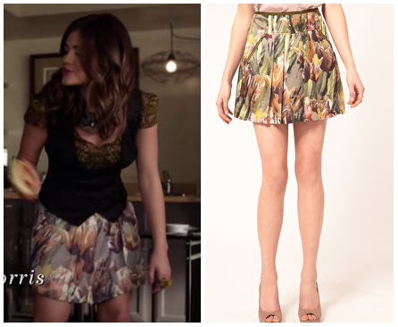 This is the tulip print skirt Aria wears at the start of this week's episode of Pretty Little Liars. You can buy it HERE from ASOS for $64.25
