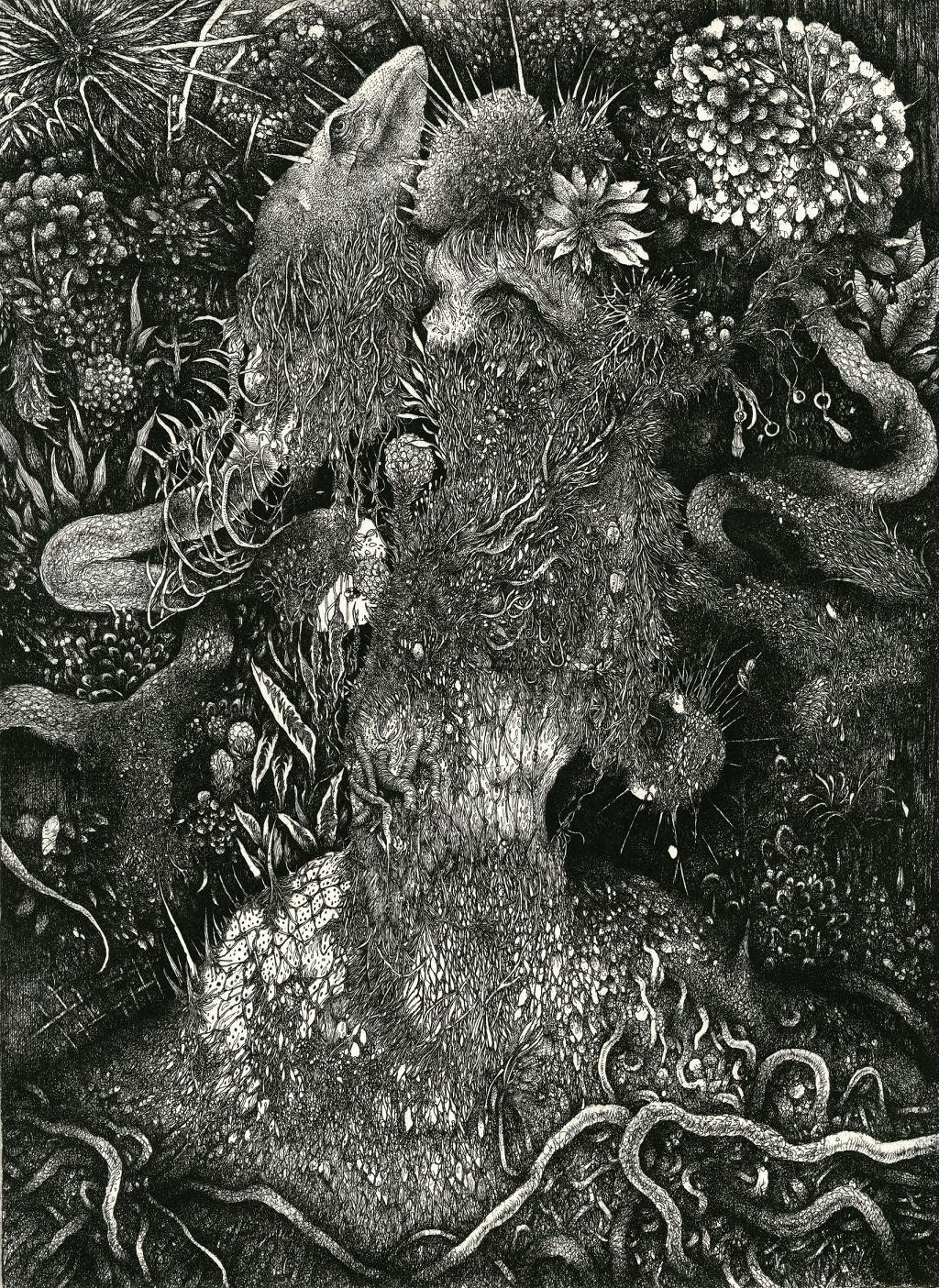 Overcrowded Portrait<dress> 2012 A4 etching