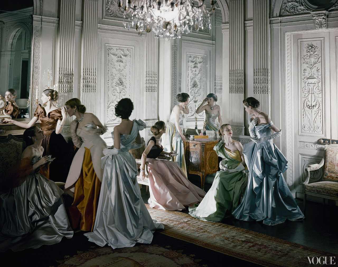 Cecil Beaton's iconic image of Charles James ball gowns, photographed in the salon of French & Co., New York, for Vogue, June 1st, 1948