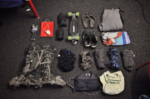 "My Pack. on Flickr. My Pack. For the last 3+ months I have been backpacking across Europe (and Egypt), Asia, and Australia. All I have with me is my 25lb (12.2kg) bag.  For about half of my flights, my bag was small enough to take as a carry-on.  Here's what's inside, that got me through deserts, mountains, oceans, rivers, snow, rain, beaches, mud and everything In between.  1 Gregory Baltoro 65 hiking backpackClothes: 6 EMS polyester boxer briefs 6 pairs ""lite wool"" athletic socks 2 polyester t-shirts 2 lightweight nylon sleeveless shirts 1 long sleeve button-down shirt 1 short sleeve button-down shirt 1 pair black jeans 1 pair jean shorts 1 pair swim trunks  1 pair 3/4 capri pants 1 belt 1 hooded sweatshirt (doubles as a pillow in airplane) 1 Tasmanian Devil towel (doubles as blanket in airplane)Toiletries (refilled throughout the trip): 1 bar of soap 1 stick of deodorant  1 beard trimmer for beard, head, ""other"" with extra AA batteries 1 pair of tweezers 1 pair of nail clippers Toothbrush and toothpaste 1 travel bottle of AdvilTechnology: 1 GoProHD waterproof video camera with extra battery (with GorillaPod mini-tripod) 1 Nikon D90 with extra battery 1 3G iPad with charger and world outlet adapters 1 SD Card reader for iPad  1 Promaster Digital Charger and Power Supply for charging electronics on the go  1 pair of headphonesAccessories: 1 22"" StereoVinyl Cruiser skateboard 1 microfiber cleaning clothe to clean camera lenses 1 drawstring backpack for day trips 1 mid sized canvas tote bag for storing clothes within backpack 1 pair sunglasses 1 wallet 1 passport Multiple ""backups"" of photocopied passport/papers with cash stashed in secrets compartments of my backpack Footwear: 1 pair flip flops 1 pair Adidas Samba flats Note: this picture shows EVERYTHING in my possession right now, except for the underwear I'm wearing and the camera I'm using to take the photo. Yes, I'm standing on my bed in my underwear taking pictures of my stuff…"