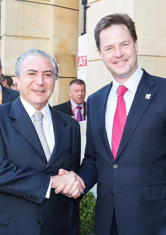 Nick Clegg, Deputy Prime Minister, with Michel Temer, Vice President of Brazil, at the Brazil business summit on 11 August 2012 at Lancaster House, London.