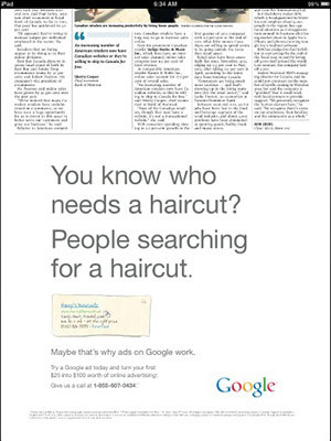 Google runs newspaper ad for Google ads