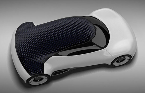 Hexa car concept features aerodynamic quality of that mimics the surface a golf ball and optical cavity of its unique material. It's a solar powered car concept that boasts unique roof design that creates contrast between smooth exterior body and porous roof surface.