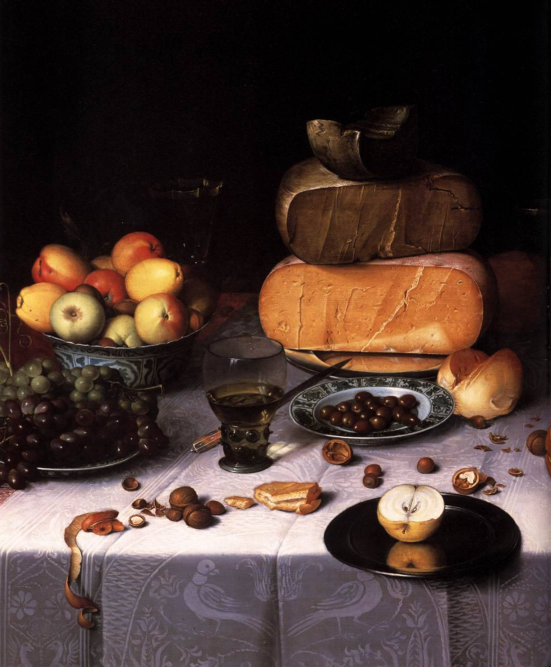 DIJCK, Floris Claesz van Dutch painter (b. 1575, Haarlem, d. 1651, Haarlem) Laid Table with Cheeses and Fruit (detail)c. 1615Oil on panelRijksmuseum, Amsterdam