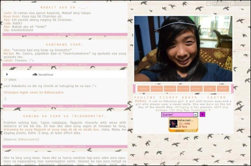 "URL: kisheycastro. BLOG TITLE: Love Will Lead You Back THEME: Cute theme. Madaling mabasa ang texts. May navigations. May hit at online counter. May wattpad siya. BGM: Wala siyang BGM. POSTS: Personal posts lahat. BLOGGER: Si Kish. 14. Mabait. Maganda ang boses. Nag-iisang tumatawag sakin ng Ate Elle. Isa sa mga pretty kong sisters :) Check niyo yung kanya, required din i-check. Follow follow din :""))"