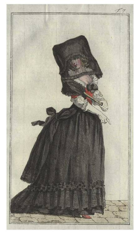 courtroyale:  Fashion plate dating 1788 depicting a woman wearing a fashionable mourning gown.