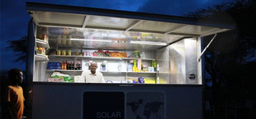springwise:  Solar-powered kiosks in Africa offer groceries, light and electricity Italy has already trialled solar powered utility kiosks in the form of Turin's Smart Booth scheme. Taking this idea a step further, the German-designed SOLARKIOSK aims to be a vital source of electricity for those living in off-grid communities. READ MORE…