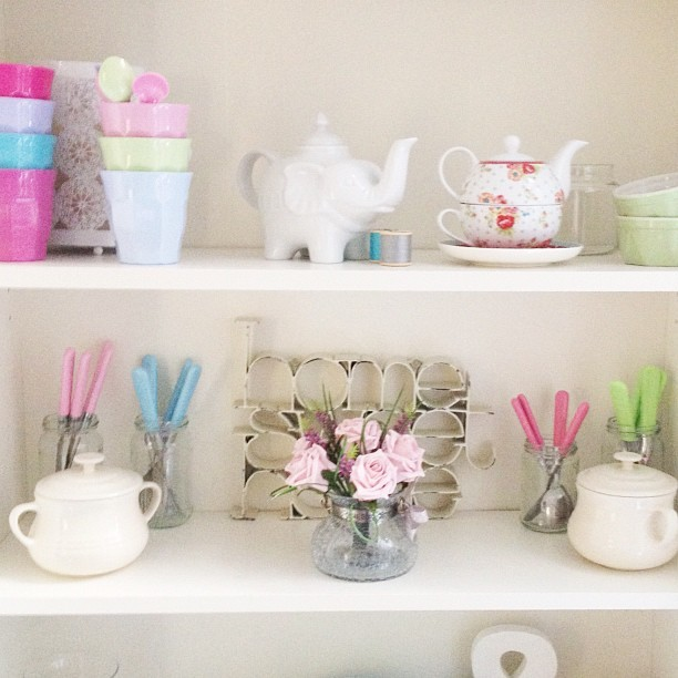 Some #pretty new #flowers on my #diningroom #dresser #billy #ikea #lecreuset #pastel #pastels #pasteloftheday  (Taken with Instagram)