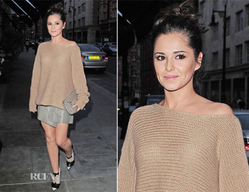 Cheryl Cole looking cute as a button in a sweater by The Row and a skirt by Helmut Lang along with a Proenza Schouler clutch and Narciso Rodriguez heels.  (via)