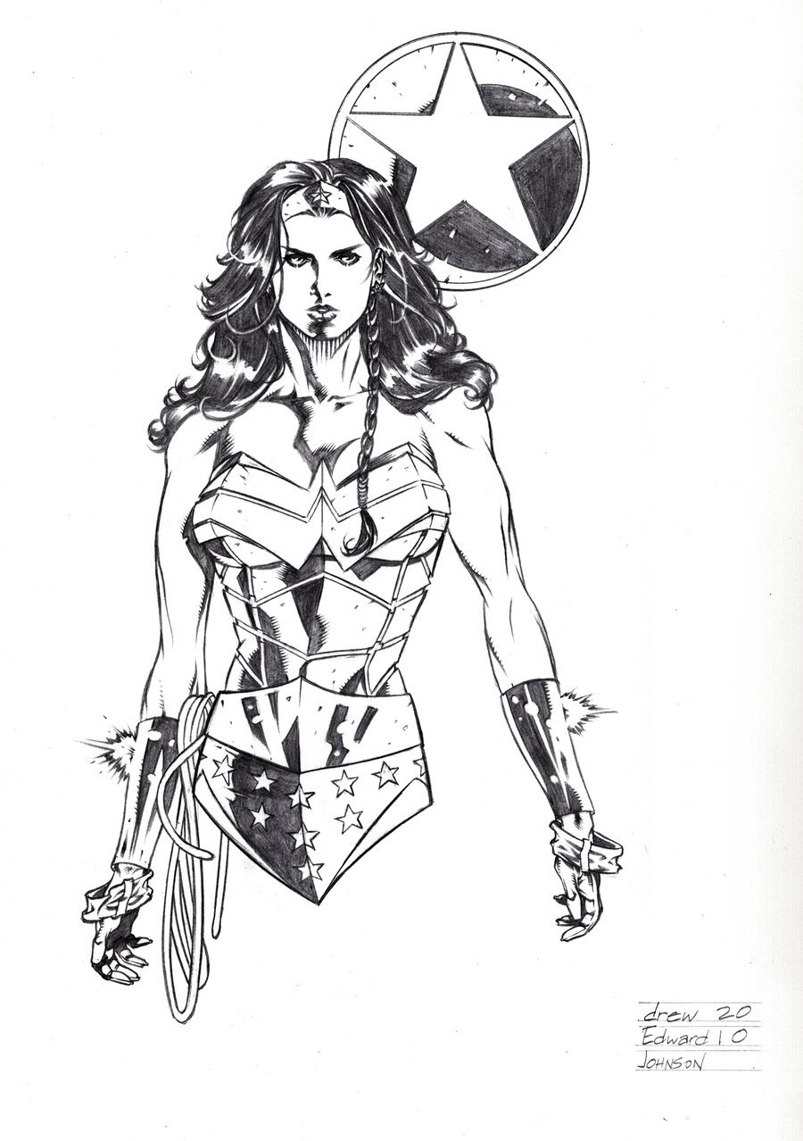 Wonder Woman Con Sketch by *DrewEdwardJohnson