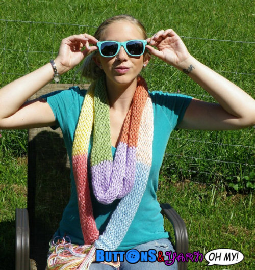 Rainbow Scarf! Hand knit with Vegan yarn <3