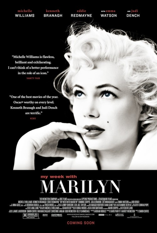 My Week with Marilyn (2011) It took a while for me to figure out why I didn't like this film as much as I wanted to. It's the tone. It's just too light-hearted. For me, at least. Marilyn Monroe was obviously a very troubled person, and there was a dark side to her that the film touched on but never really fully explored. Instead, it remained quite jovial. It's fine that the filmmakers decided to take this approach - I just personally wish it had been a darker, more dramatic film. Or perhaps I just want a different film about Monroe altogether. Anyway, the film was still pretty good. Michelle Williams was fantastic. I forgot that it wasn't Monroe a couple of times, as she was almost as adorable. The rest of the cast were great too. The cinematography was nice and I enjoyed several scenes a lot. It didn't have the dramatic weight I wanted, but it was a pleasant watch.