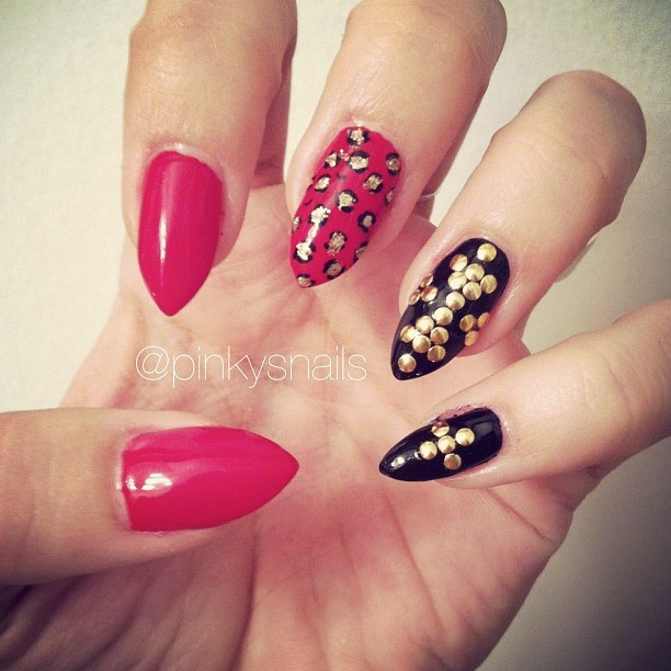 Red, black, and gold mani by Lauren ! (Taken with Instagram)