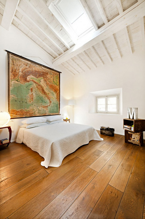 attic bedroom + huge vintage map = love! (via desire to inspire)